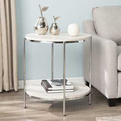 Stamper Faux Stone End Table - Wayfair