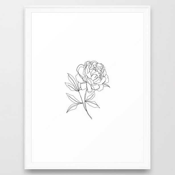 Botanical Illustration Line Drawing - Peony Framed Art Print by The Colour Study - Scoop White - MEDIUM (Gallery)-20x26 - Society6