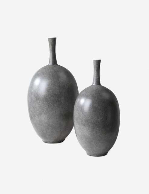 Ema Vases (Set of 2), Marbled Gray - Lulu and Georgia