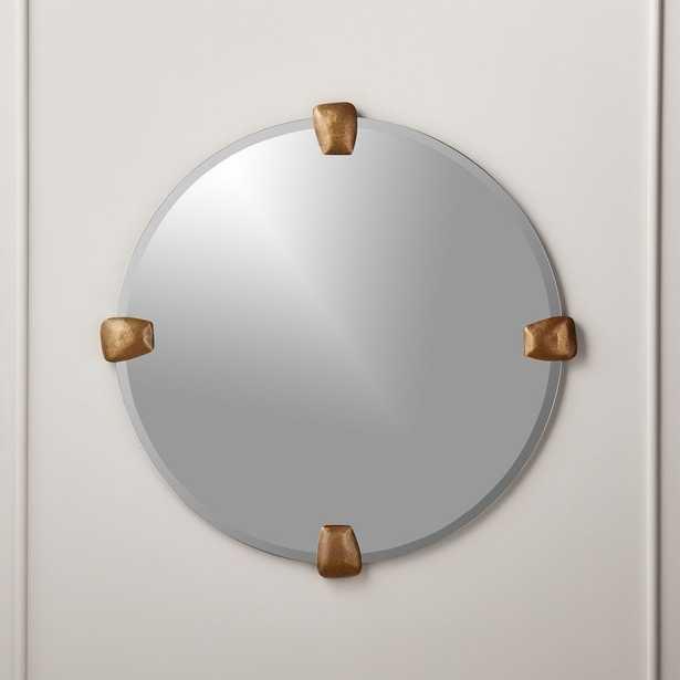 "Depp Brass Tab Round Mirror 32"" - CB2"