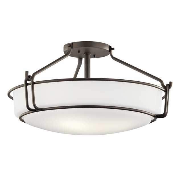 KICHLER Alkire 4-Light Olde Bronze Semi-Flush Mount Ceiling Light with Satin Etched White Glass - Home Depot