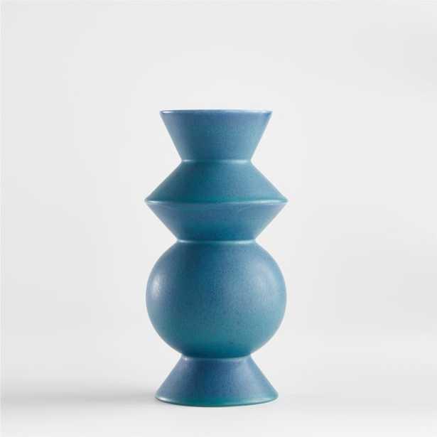 Hilda Blue Totem Vase - Crate and Barrel
