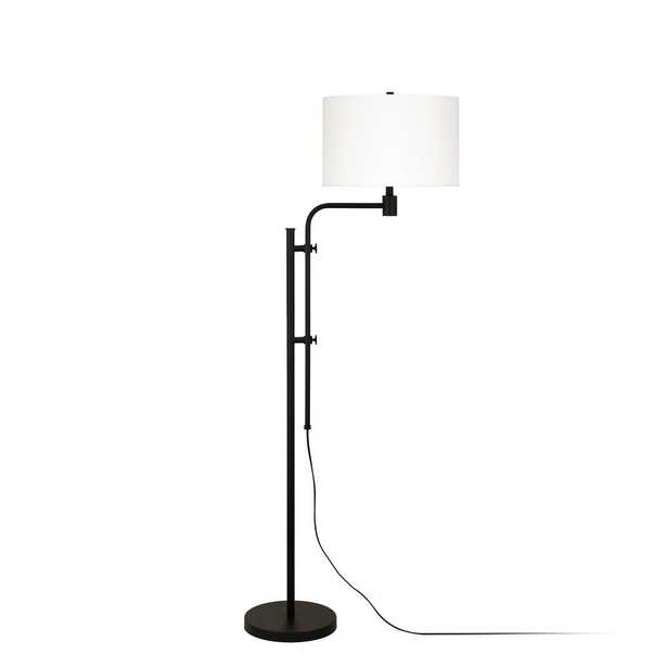 Hudson&Canal Polly Height Adjustable Blackened Bronze Floor Lamp - Home Depot