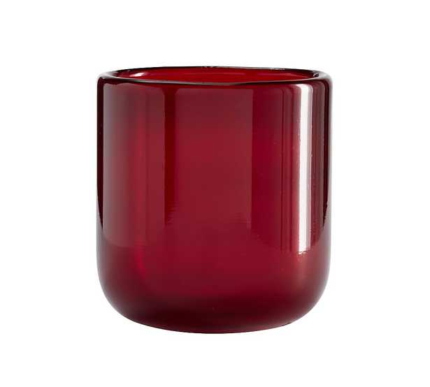 """Modern Glass Votive Candle Holder, Red, Small, 3.75""""H - Pottery Barn"""