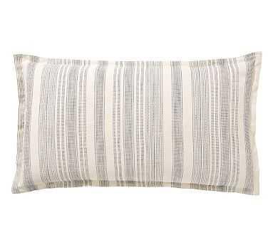 Hawthorn Stripe Cotton Sham, King, Charcoal - Pottery Barn