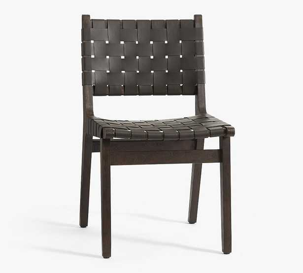 Fenton Leather Dining Side Chair, Coffee Bean Frame, Black - Pottery Barn