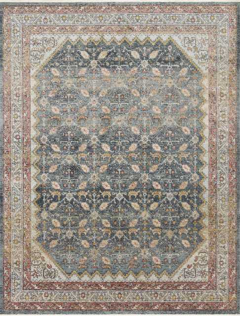 """Magnolia Home by Joanna Gaines GRAHAM GRA-01 BLUE / PERSIMMON 6'-7"""" x 9'-7"""" - Magnolia Home by Joana Gaines Crafted by Loloi Rugs"""