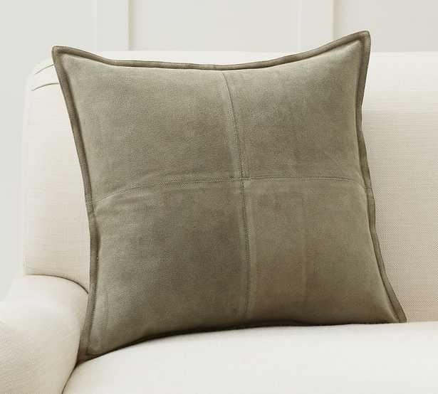"""Pieced Suede Pillow Cover, 20 x 20"""", Cypress - Pottery Barn"""
