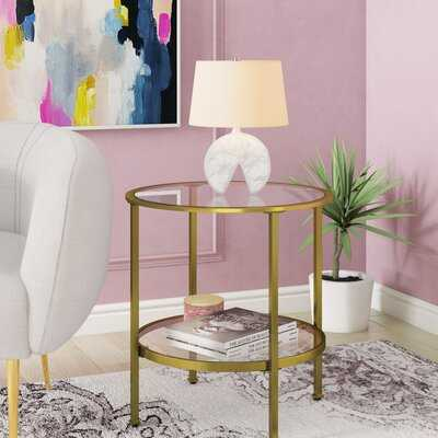 Margarita Glass Top End Table with Storage - Wayfair