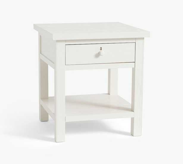 """Farmhouse 22"""" End Table with Drawer, Montauk White - Pottery Barn"""
