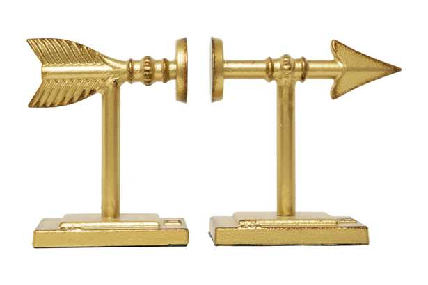 Gold Arrow Shaped Cast Iron Bookends (Set of 2 Pieces) - Nomad Home