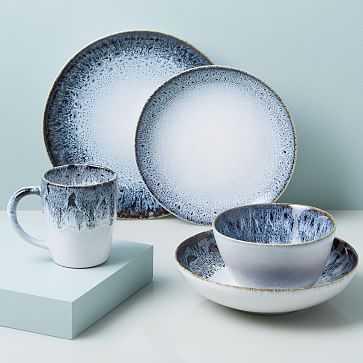 Reactive Glaze Dinnerware, Set of 20, Black + White - West Elm