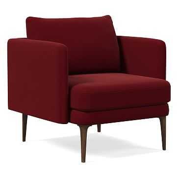 Auburn Chair, Poly, Velvet, Claret, Dark Mineral - West Elm