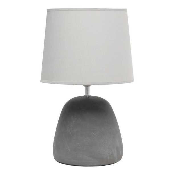 Simple Designs 16.5 in. Round Concrete Table Lamp with Gray Shade - Home Depot