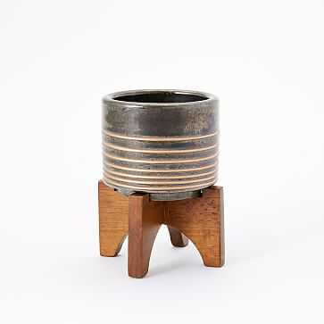 """Turned Wood Tabletop Planter, Black/Gold, 3.7""""D X 3""""H - West Elm"""