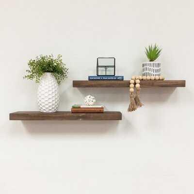 Evonne 2 Piece Solid Wood Pine Floating Shelf - Birch Lane