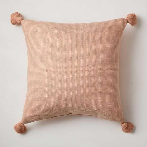 "Outdoor Textured Solid Tassel Pillow, 20""x20"", Bright Peach, Set of 2 - West Elm"