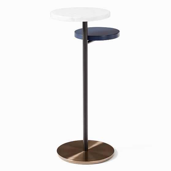 Eclipse Drink Table, Walnut & Marble & Antique Bronze - West Elm