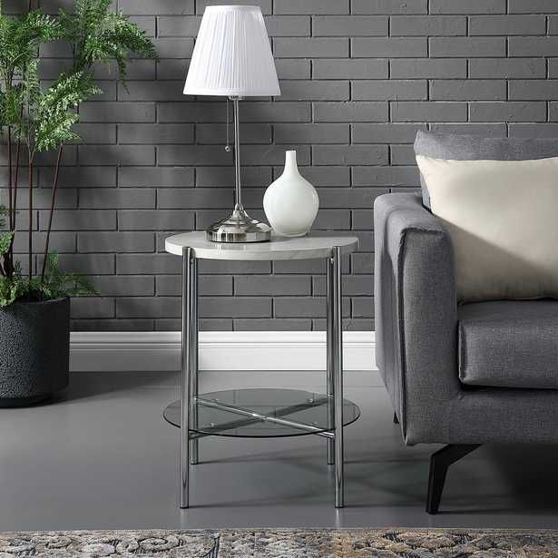 20 in. White Marble Top Glass Shelf Chrome Legs Round Side Table, White/Grey - Home Depot