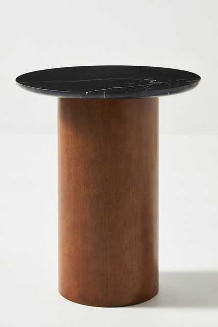 Anya Travertine Side Table By Anthropologie in Black - Anthropologie
