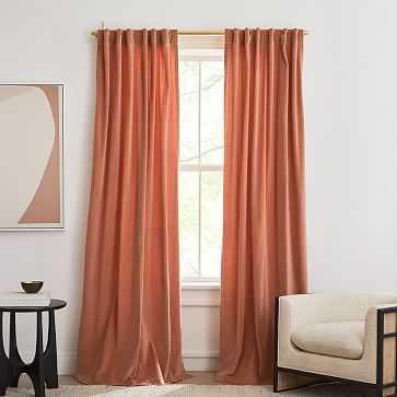 "Cotton Velvet Curtain, Terracotta, 48""x96"", Set of 2 - West Elm"
