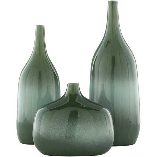 Black, Navy 18'' Ceramic Table Vase in , Black/Navy Color: Dark Green/Teal - Perigold