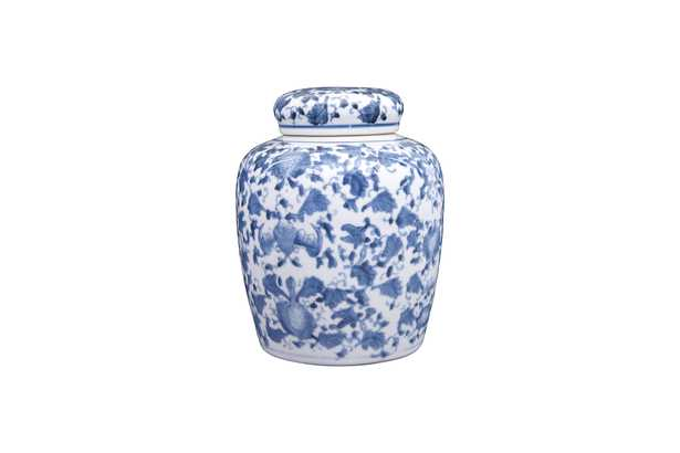 Decorative Blue and White Ceramic Ginger Jar with Lid - Nomad Home