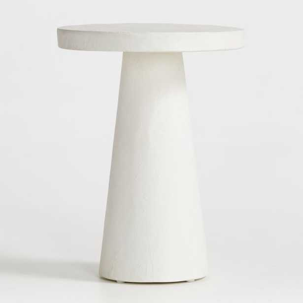 Willy White Plaster Pedestal Side Table - Crate and Barrel