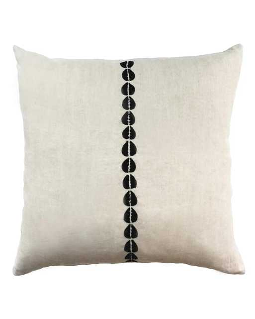 cowrie embroidered pillow in natural with insert - PillowPia