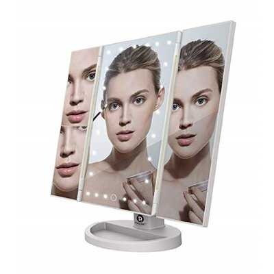 Virgil Led Tri Fold Vanity Mirror 2x and 3x Magnifications - 24 Dimmable Natural Lights, Touch Screen Adjustable Countertop Table Mirror with Cosmetic Stand - Wayfair