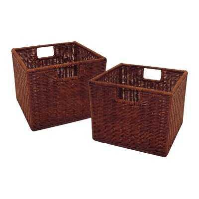 Nautilus Walnut Small Wicker/Rattan Storage Basket Set - Wayfair