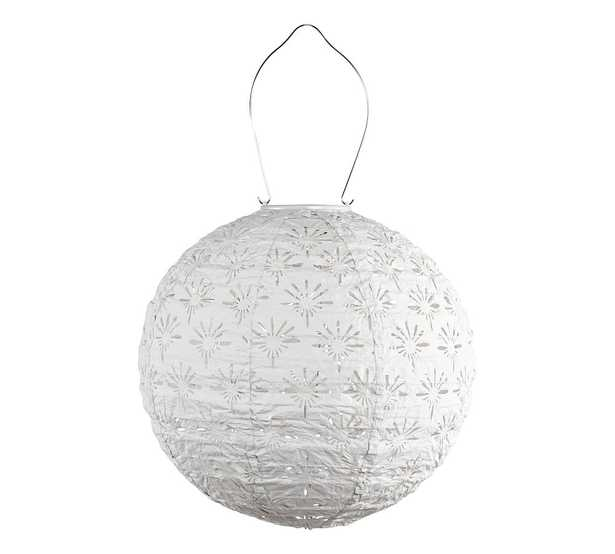 Handcrafted Deco Globe Solar Lantern, Porcelain, 12'W - Pottery Barn