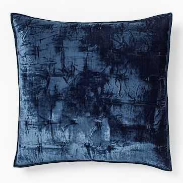 Lush Velvet Tack Stitch Quilt, Euro Sham, Midnight - West Elm