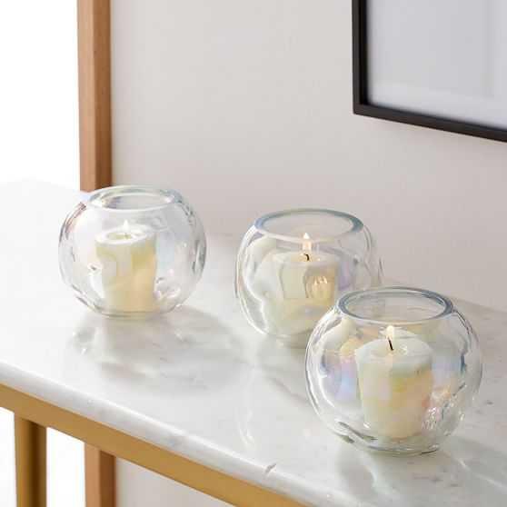 Puff Glass Votives, Set of 3, Large, Luster - West Elm