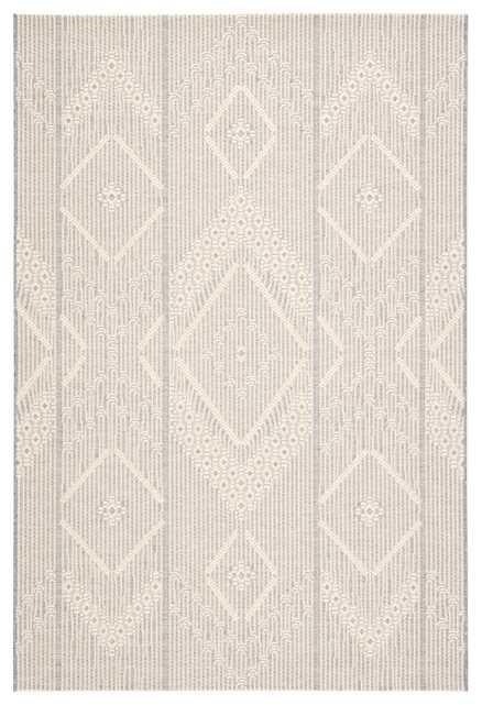 "Shiloh Indoor/ Outdoor Tribal Gray/ Cream Area Rug (5'3""X7'6"") - Collective Weavers"