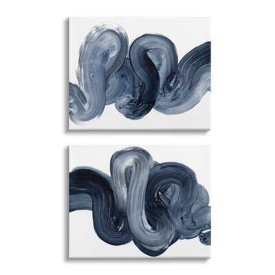 Curved Abstract Brushstroke Organic Blue Grey by Victoria Barnes - 2 Piece Graphic Art Set - Wayfair
