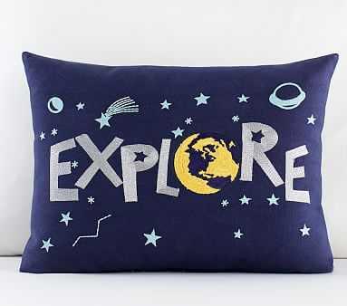 "Explore Pillow, 12x16"", Navy Multi - Pottery Barn Kids"