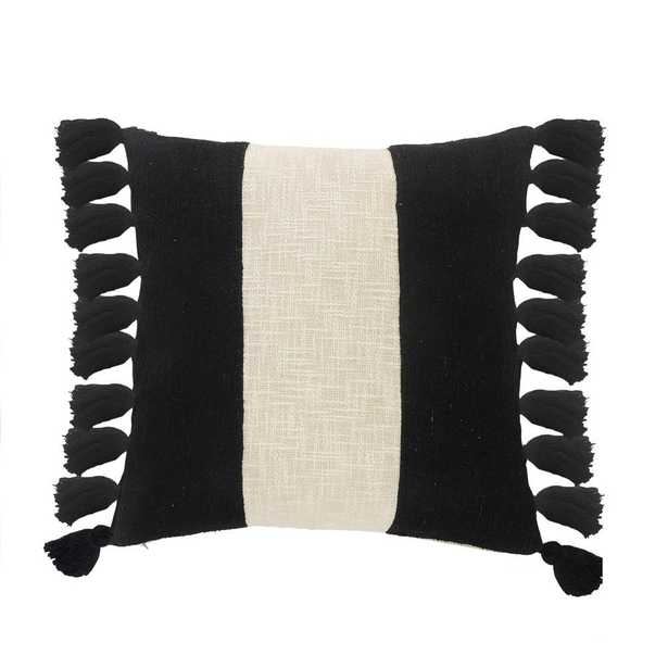 LR Home Trinity Black and Ivory Stripe Fringe Soft Poly-fill 20 in. x 20 in. Throw Pillow - Home Depot
