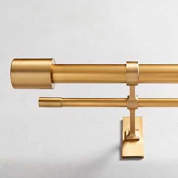 "Oversized Metal Double Rod, Antique Brass, 108""-144"" - West Elm"