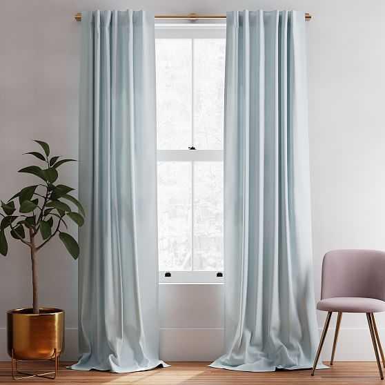"Solid European Flax Linen Melange Curtain, Washed Blue Gemstone, 48""x96"" - West Elm"