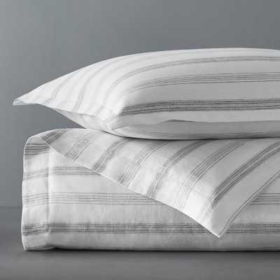 Chambers Linen Yard Dye Stripe Bedding, Full/Queen, Gray - Williams Sonoma