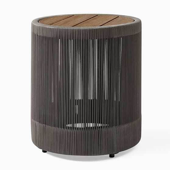 Porto Round Side Table, Driftwood, Warm Cement - West Elm