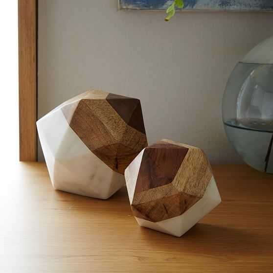 Marble & Wood Object, Small Octahedron, Set of 2 - West Elm