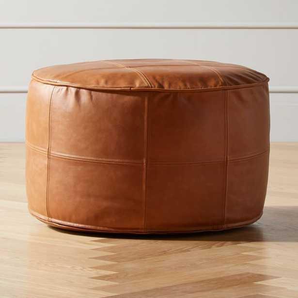Round Saddle Leather Pouf Medium - CB2