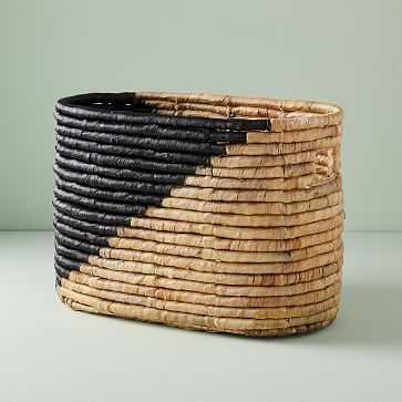 Woven Seagrass Magazine Basket, Natural/Black - West Elm