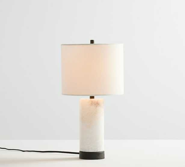 """Windham Alabaster USB Table Lamp, Medium, 18.25"""", Bronze with Shade - Pottery Barn"""