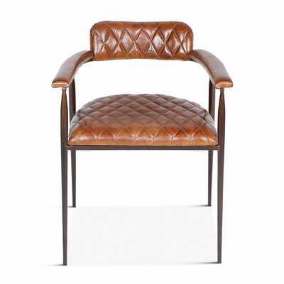 Delgado Leather Upholstered Arm Chair in Brown - Wayfair