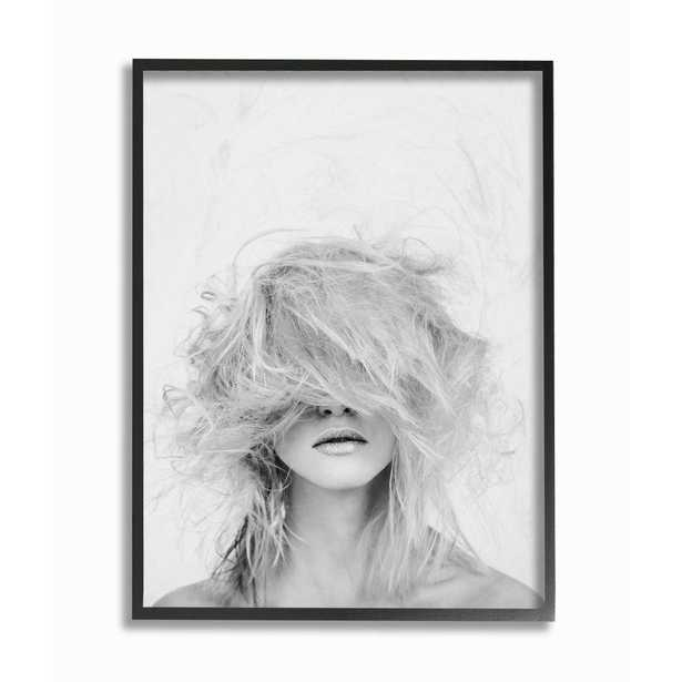 """The Stupell Home Decor Collection 24 in. x 30 in. """"Fashion Model Wild Hair Makeover Black and White Portrait"""" by Design Fabrikken Framed Wall Art, - Home Depot"""