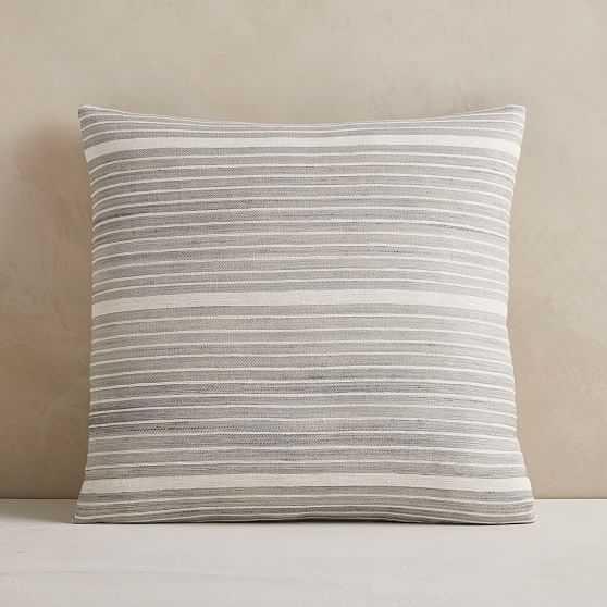 "Silk Mini Stripe Pillow Cover, 20""x20"", Pearl Gray - West Elm"