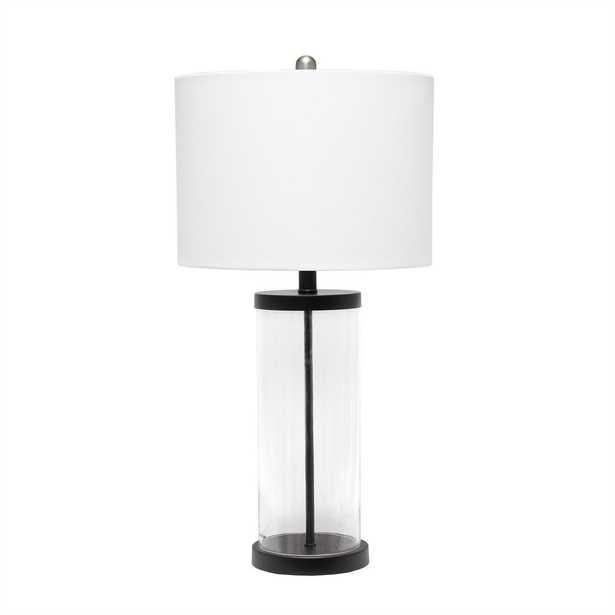 Lalia Home 28 inch Entrapped Glass Table Lamp with White Fabric Shade - Home Depot